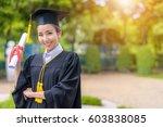 graduated woman students...   Shutterstock . vector #603838085