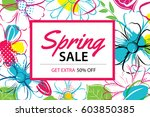 spring sale poster template... | Shutterstock .eps vector #603850385