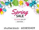 spring sale poster template... | Shutterstock .eps vector #603850409