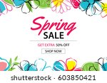 spring sale poster template... | Shutterstock .eps vector #603850421