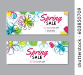 spring sale banner template... | Shutterstock .eps vector #603850709