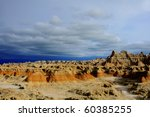 Storm at Badlands - stock photo