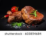grilled beef fillet steaks with ... | Shutterstock . vector #603854684