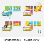 set of illustrations on the... | Shutterstock .eps vector #603856049