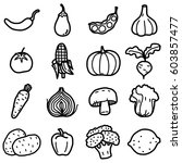 vegetable objects  icons set  ... | Shutterstock .eps vector #603857477
