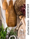 rustic provence kitchen...   Shutterstock . vector #603859349