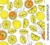 yellow lemon  tea in cup with... | Shutterstock .eps vector #603859529