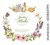 vector herbal cosmetics wreath... | Shutterstock .eps vector #603860594