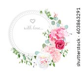delicate wedding floral vector... | Shutterstock .eps vector #603863291