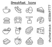 Breakfast Icon Set In Thin Lin...
