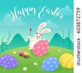 easter greeting card with white ... | Shutterstock .eps vector #603872759