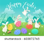 easter greeting card with white ... | Shutterstock .eps vector #603872765