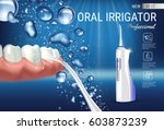 electric oral irrigator ads.... | Shutterstock .eps vector #603873239