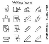 Writing Icon Set In Thin Line...