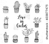 hand drawn doodle cactus and... | Shutterstock .eps vector #603877475