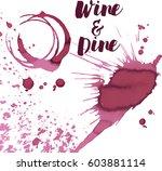 wine spots and spill  vector | Shutterstock .eps vector #603881114