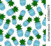 pattern of pineapple.  | Shutterstock .eps vector #603886079