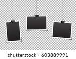 vector set of photo frames on... | Shutterstock .eps vector #603889991