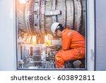turbine technician check and... | Shutterstock . vector #603892811