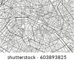 black and white vector city map ... | Shutterstock .eps vector #603893825
