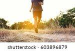 athlete runner feet running on... | Shutterstock . vector #603896879
