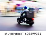 picture of a scooter messenger... | Shutterstock . vector #603899381