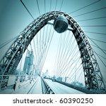 vivid red suspension bridge | Shutterstock . vector #60390250