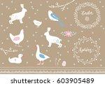 set of white hand drawn easter... | Shutterstock .eps vector #603905489