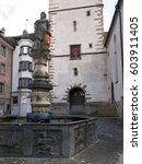 "Small photo of Chur, Switzerland - April 27, 2016: downtown is considered the oldest Swiss agglomeration, is often called ""The oldest town in Switzerland."""