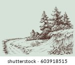 nature drawing  a path in the... | Shutterstock .eps vector #603918515