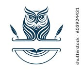 owl logotype. vector logo badge.... | Shutterstock .eps vector #603924431