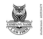 Stock vector law firm logotype with owl vector logo badge 603924479