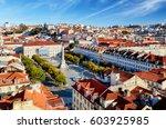 lisbon skyline from santa justa ...   Shutterstock . vector #603925985