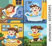 the daily routine of a cute... | Shutterstock .eps vector #603926891
