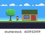 pixel art game scene with... | Shutterstock .eps vector #603932459