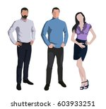 two men and one woman standing. ... | Shutterstock .eps vector #603933251