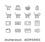 shopping icon set. online store ... | Shutterstock .eps vector #603933401