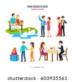 young couple in love  relax on... | Shutterstock .eps vector #603935561