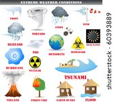 Big Set of Extreme weather conditions vector - stock vector