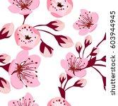 seamless pattern of sakura...   Shutterstock .eps vector #603944945