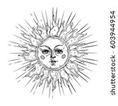 Hand Drawn Sun With Face And...