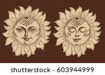 hand drawn sun with face... | Shutterstock .eps vector #603944999