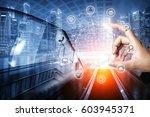 businessman holding smart phone ... | Shutterstock . vector #603945371