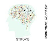 stroke concept with human brain ...   Shutterstock .eps vector #603946559