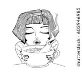hand drawn fashion illustration ... | Shutterstock . vector #603946985
