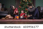 happy family in christmas photo ... | Shutterstock . vector #603956177