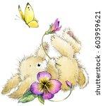 cute bunny. rabbit watercolor... | Shutterstock . vector #603959621