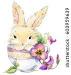 cute bunny. rabbit watercolor... | Shutterstock . vector #603959639