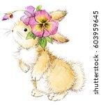 cute bunny. rabbit watercolor... | Shutterstock . vector #603959645