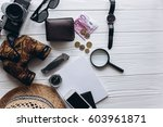 travel concept   documents  hat ... | Shutterstock . vector #603961871